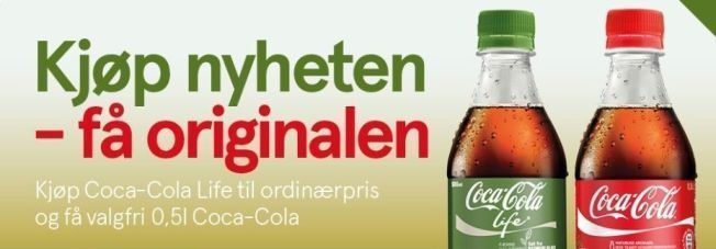 REKLAMEN: Dette er en del av markedsføringen av Coca-Cola Life Forbrukerrådet reagerer på.