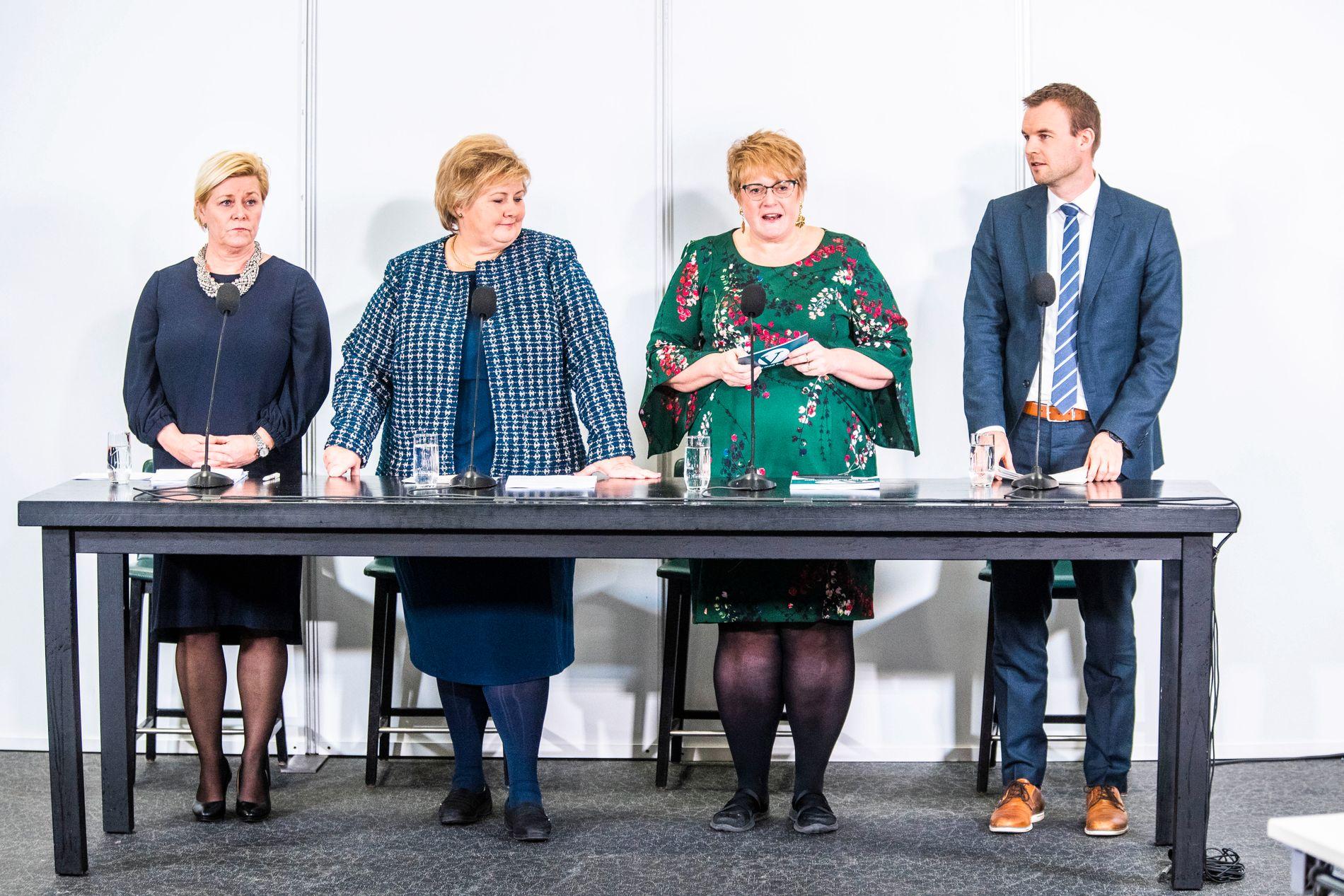 UTEN KRF: Frp-leder Siv Jensen, Venstre-leder Trine Skei Grande og Høyre-leder Erna Solberg var alle med på møtet med NSB i fjor. KrF var på det tidspunktet ikke i regjering.