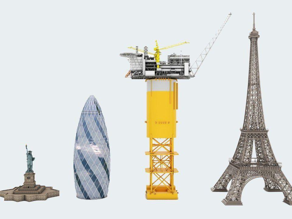 Denne grafikken illustrerer størrelsen på den enorme Spar-plattformen til Aasta Hansteen-feltet. Fra venstre: Frihetsgudinnen i New York, Aasta Hansteen og Eiffeltårnet i Paris