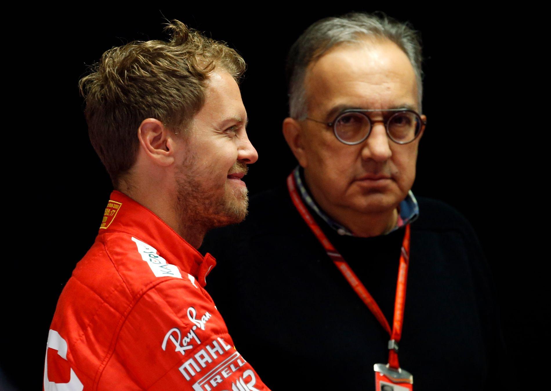 GODE BUSSER: Sebastian Vettel og Ferrari-sjefSergio Marchionne fotografert under Formel1-løpet på Monza i fjor.