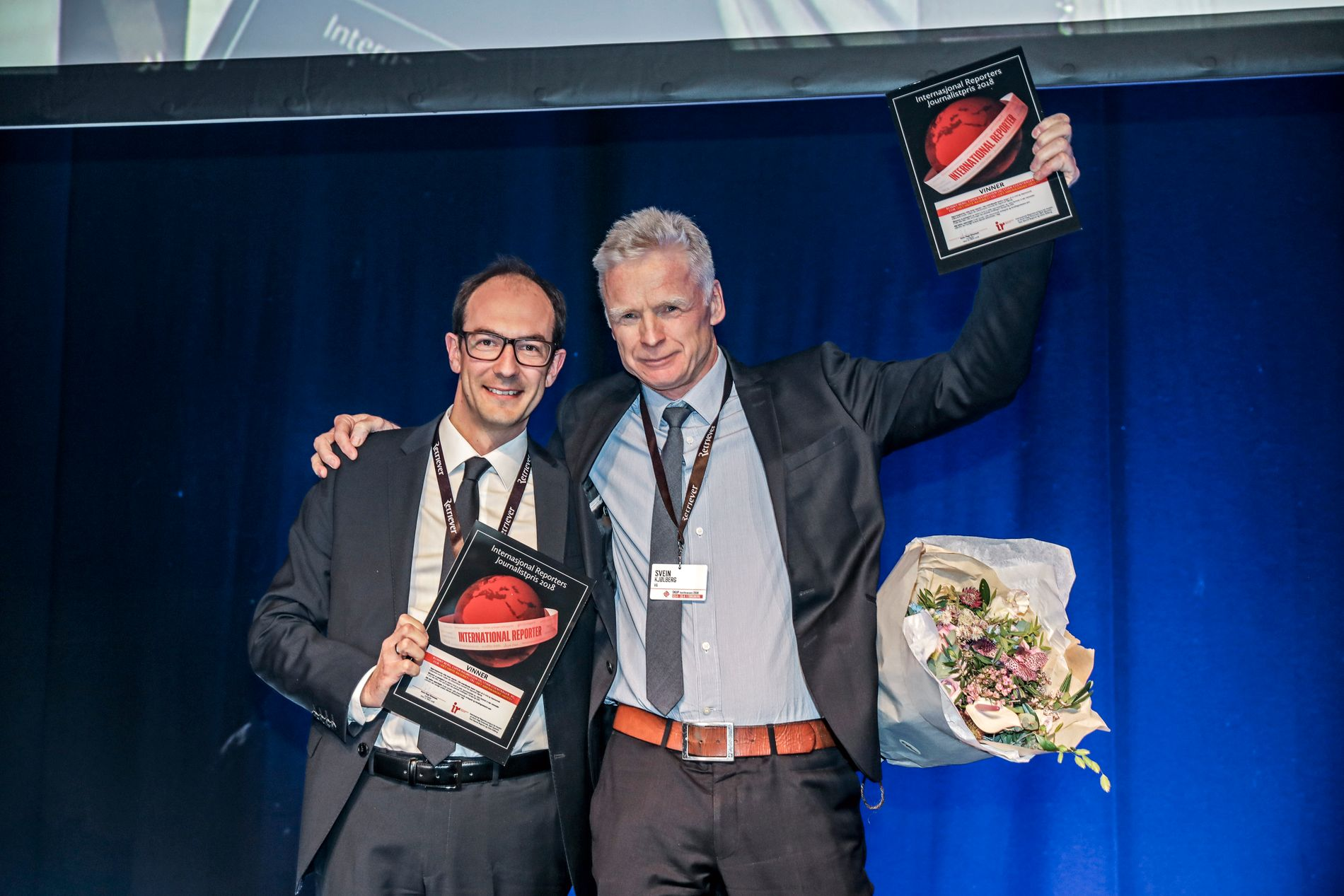 VINNERE: Stian Eisenträger og Svein Kjølberg tok imot prisen under SKUP-konferansen i Tønsberg.