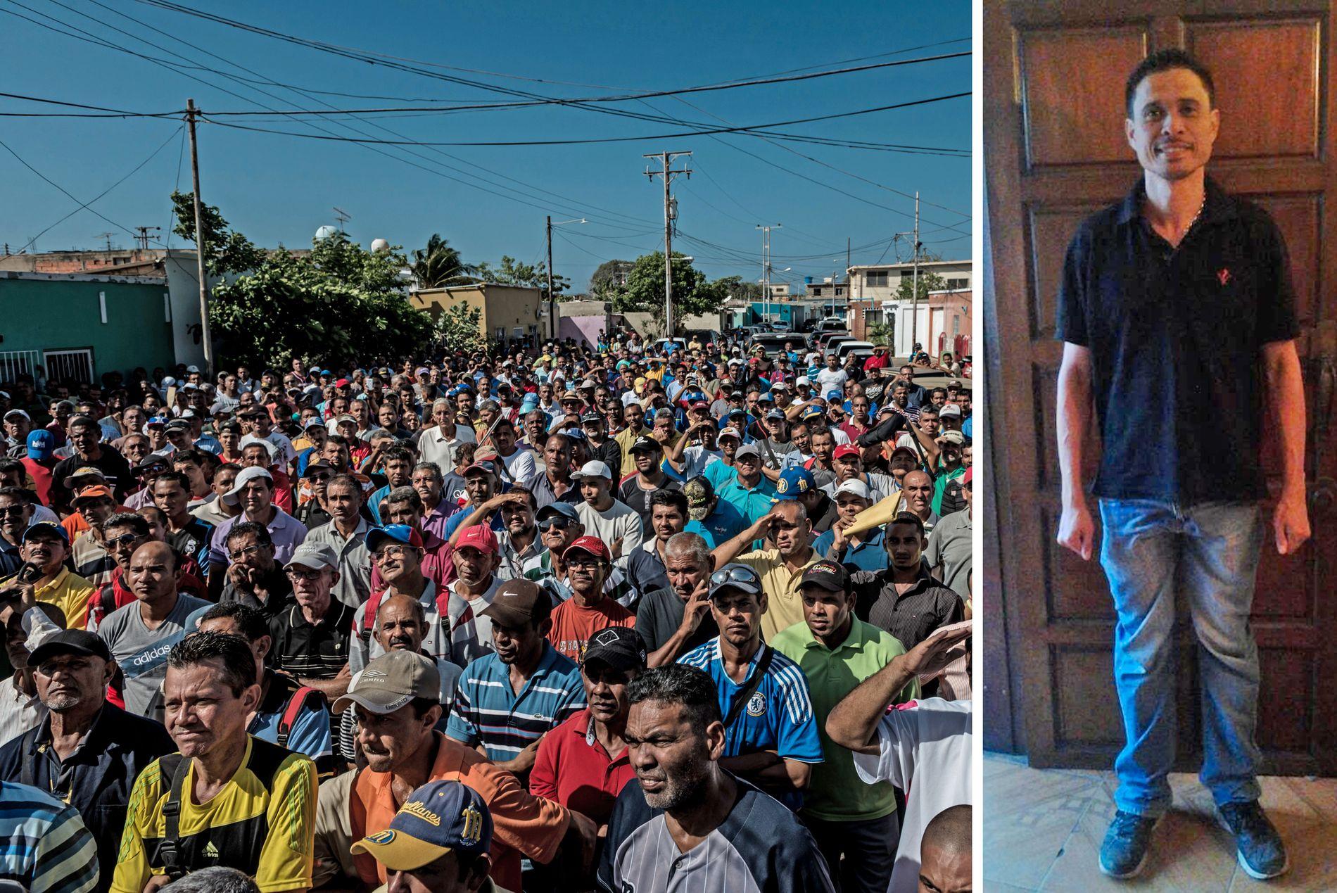 MASSEFLUKT: Til venstre: Venezuela opplever en masseflukt fra det nasjonale oljeselskapet PDVSA. Bildet fra desember i fjor viser hundrevis av arbeidere ved Ahuay-raffineriet som prøver å få dagsjobb på den karibiske øyen St. Martin – hvor én times arbeid er mer enn hva de tjener i Venezuela på én måned. Til høyre: Endy Torres jobber som operatør. De 3 dollarene han tjener i måneden er ikke nok til å kjøpe mat, og han raser ned i vekt.