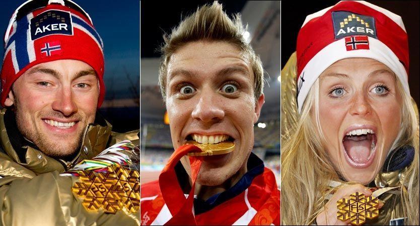 KAN TA GULL PÅ TV 2: Fra v. Petter Northug, Therese Johaug og Andreas Thorkildsen sikter alle mot OL i 2014 og 2016. Foto: Scanpix / montasje: VG Nett