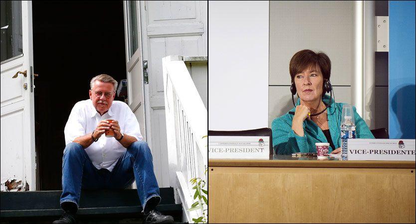 FULL ORDKRIG: Den svenske politikeren Mona Sahlin (til høyre) reagerer kraftig på at visesangeren Mikael Wiehe nekter å la sin kjente sang «En sang til motet» under en minneseremoni. Foto: Heiko Junge, NTB Scanpix/ Afp