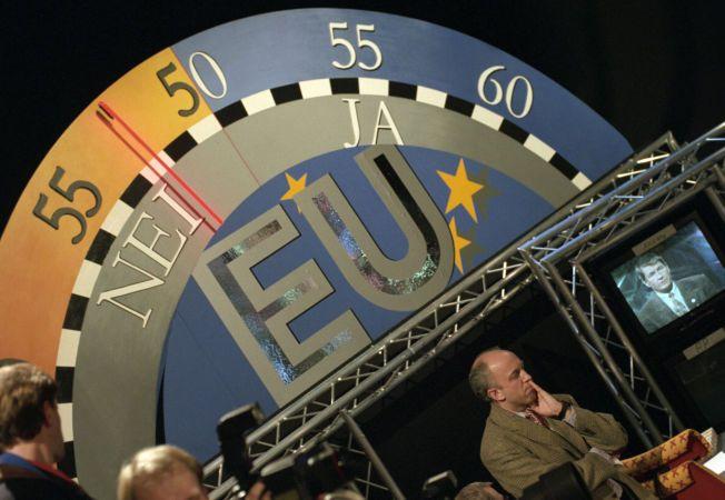 MOTSTAND: EU-barometeret i NRK-studio visete at det norske folk sa nei til medlemskap i 1994.