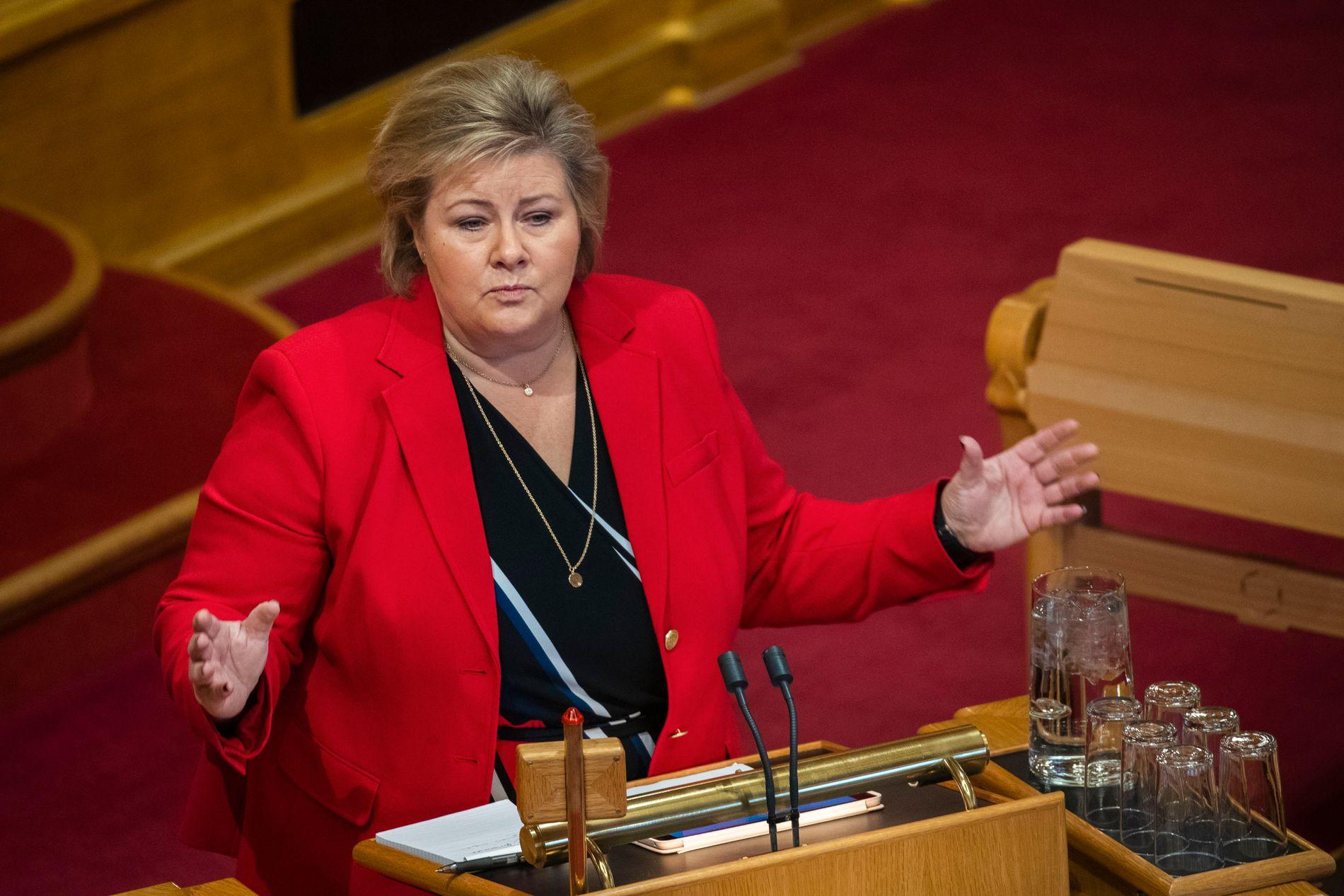 GRILLET: - Regjeringen arbeider ikke for å endre abortloven, har statsminister Erna Solberg (H) sagt i Stortinget.
