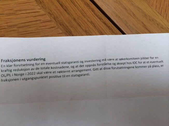 HEMMELIG: Her er notatet om hvordan Høyres stortingsgruppe bør stille seg til et OL i Oslo i 2022, som kulturpolitisk talsmann Svein Harberg har skrevet.
