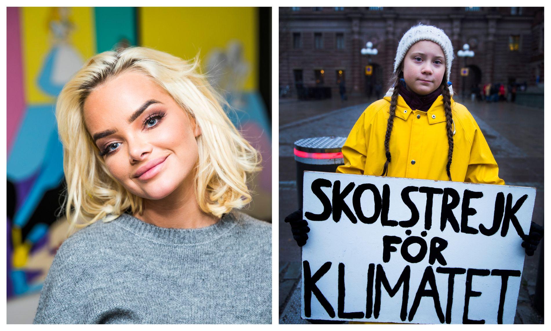 UNGE STEMMER: Influenser Sophie Elise Isachsen og den svenske klimaforkjemperen Greta Thunberg.