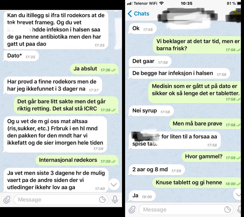 FORTVILTE MELDINGER: Disse WhatsApp-meldingene sendte den norske IS-kvinnen til sin far på en mobil hun fikk låne. De hvite meldingene er fra kvinnen i Syria, de grønne er svarene fra faren.