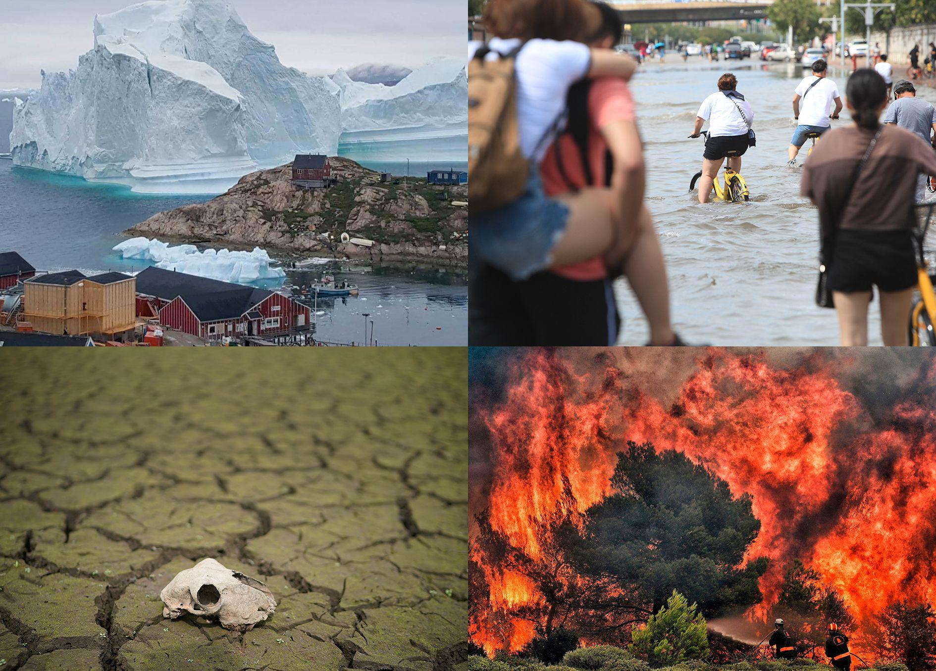 EKSTREMT: Samtlige bilder er fra Juli 2018: Øverst til venstre: Et enormt isfjell truet det lille samfunnet Innaarsuit på Grønland. Øverst til høyre: Innbyggerne i Tianjin i Kina sykler i vann etter at en tyfon førte til store oversvømmelser.  Nederst til venstre:  En massiv tørke traff England etter en intens hetebølge. Nederst til høyre: Skogbranner herjer i deler av Europa, her fra katastrofen i Hellas denne uken.