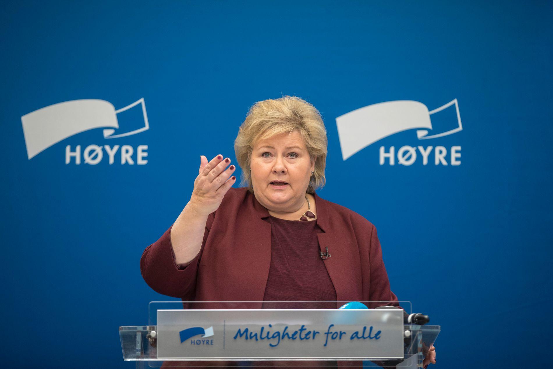 INNLEDET MØTE: Statsminister Erna Solberg (H) talte til Høyres sentralstyre søndag.