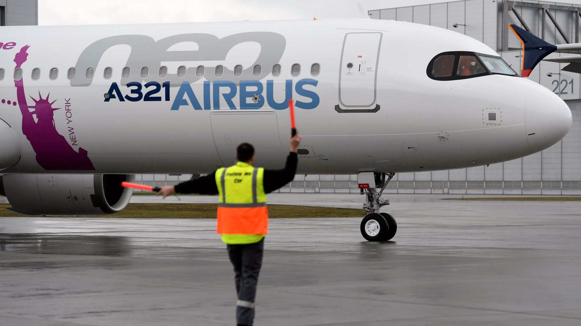 Airbus sitt A321LR avbildet under en presentasjon i Hamburg i 2018.
