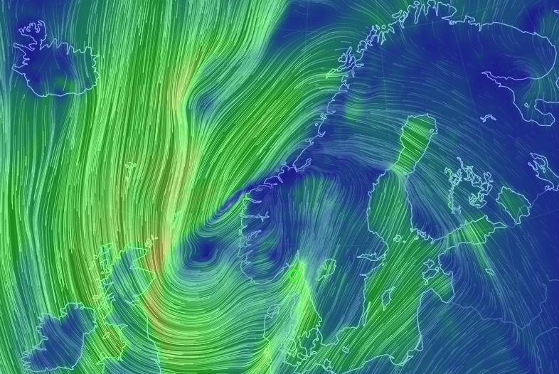 STORM PÅ VEI: Bildet viser en prognose for vinden klokken 19 torsdag kveld. Legge merke til den kraftige vinden inn Skagerrak mot Ytre Oslofjord.