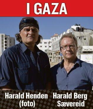 Harald Henden og Harald Berg Sævereid i Gaza. Byline.