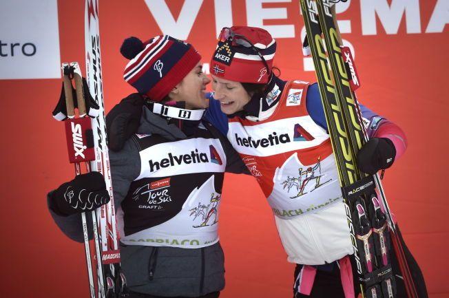 KAMPEN OM 2. PLASSEN: Marit Bjørgen (t.h.) har avgjort kampen om sammenlagtseieren i Tour de Ski, bare et uhell kan ta fra henne seieren. Bak henne kjemper Heidi Weng (t.v.) og Therese Johaug om 2. plassen.