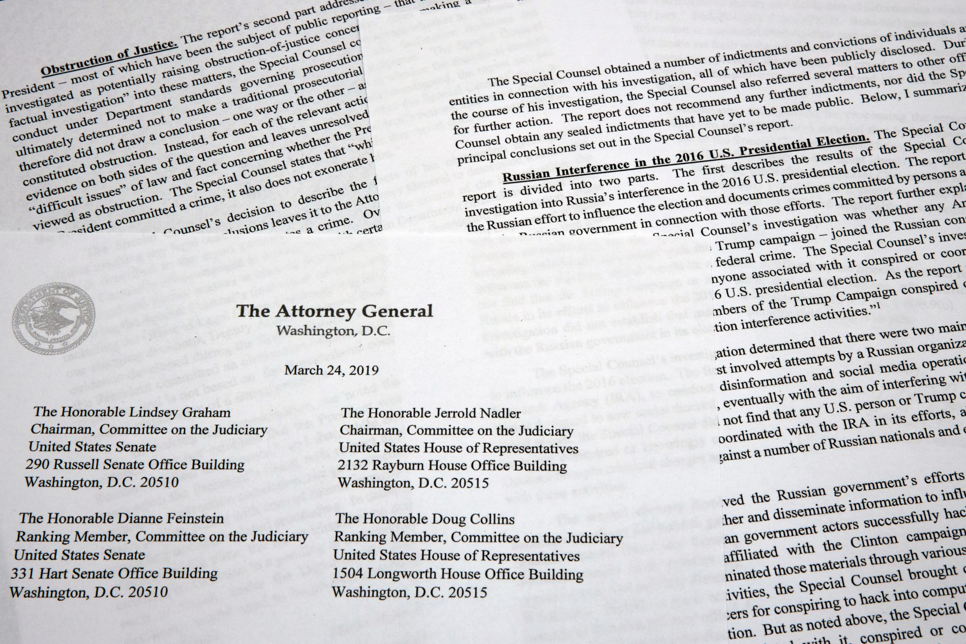 SAMMENDRAGET: USAs justisminister William Barr har sendt dette brevet til Kongressen, som sammenfatter Mueller-rapportens hovedfunn.