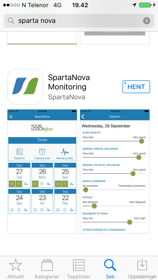 OL-APP: Slik ser «sikkerhetsnettet» til alle Norges OL-aktuelle utøvere ut på en smarttelefon.