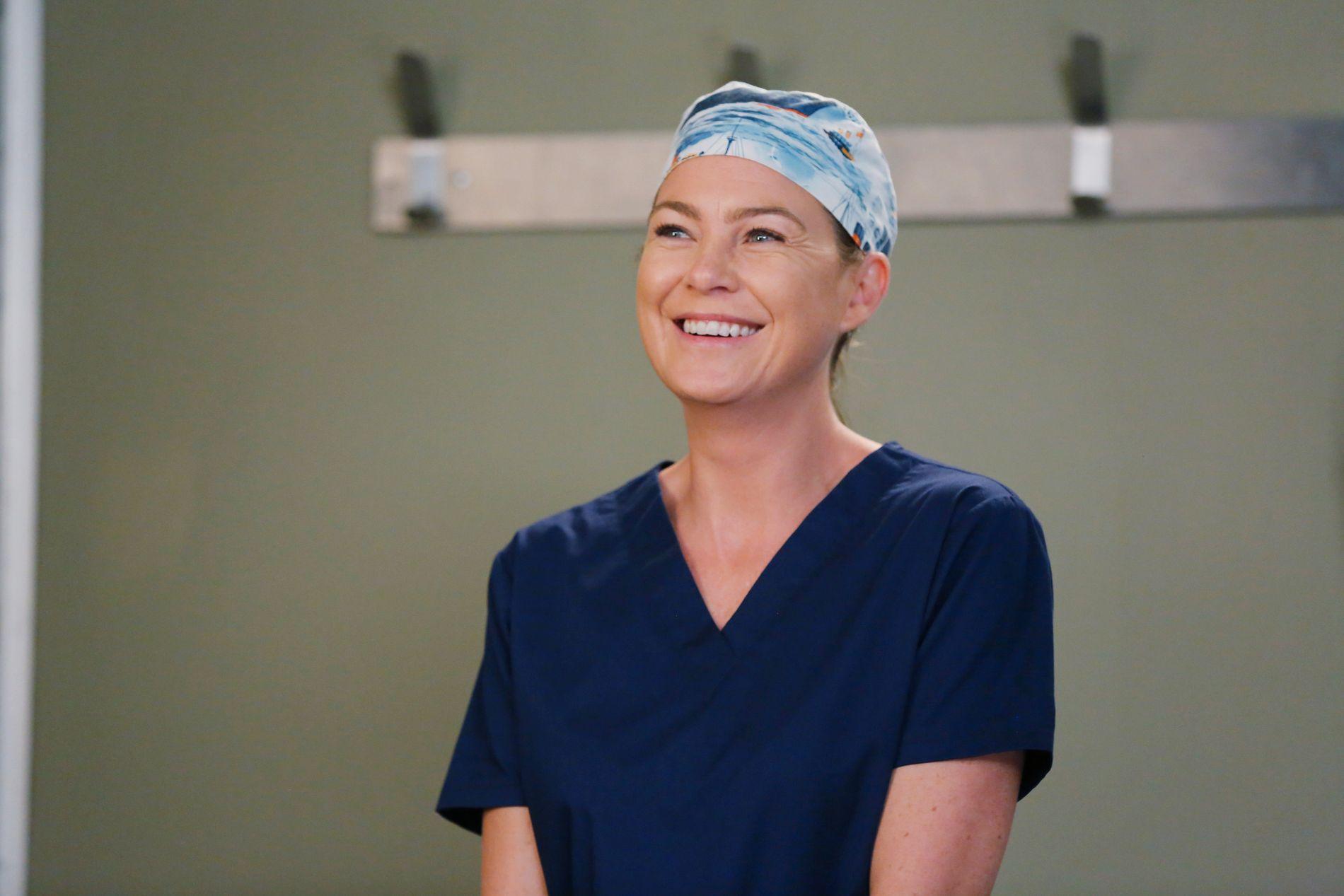 MYE SKJER: Ellen Pompeo som Meredith Grey i sesong 12 av «Grey's Anatomy». Hun er med videre.
