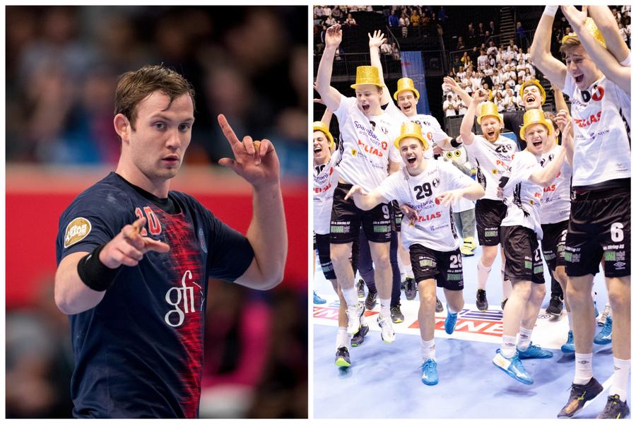 12.000 TILSKUERE? Elverum opplever fullstendig håndballfeber. Billettsalget til kampen mot Sander Sagosen (venstre) og Paris-Saint Germain slår alle tidligere rekorder for håndball i Norge.