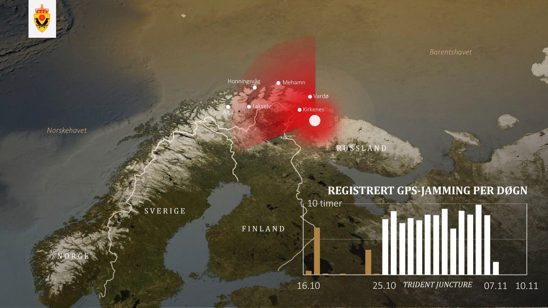 GPS-URO: Plansjen viser hvordan Russland, ifølge E-tjenesten, påvirket navigasjonssignalene GPS i Finnmark, samtidig med NATOs storøvelse sør i Norge høsten 2018.