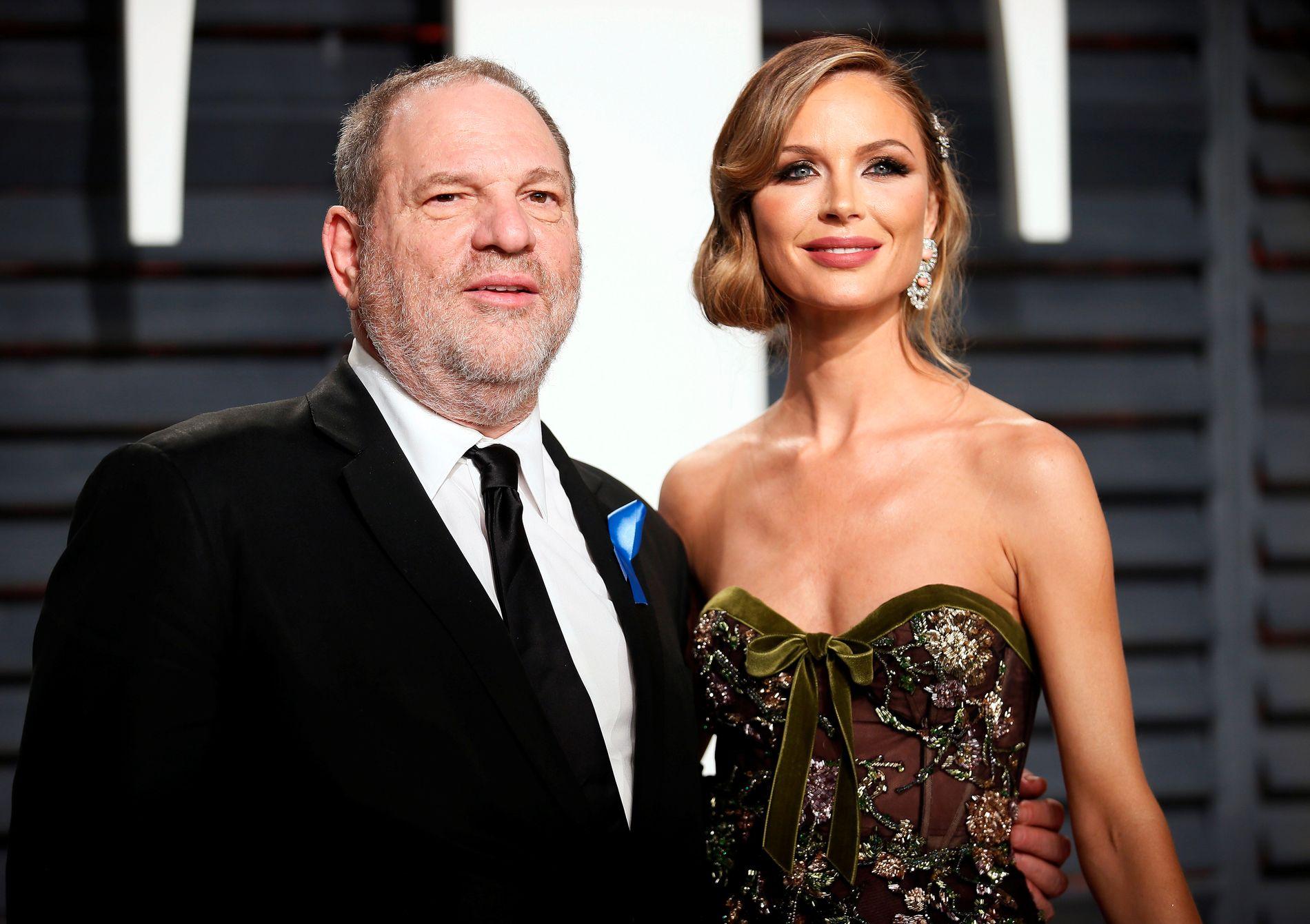 STJERNEPAR: Her er Georgina Chapman (41) og Harvey Weinstein (65) i februar i år.