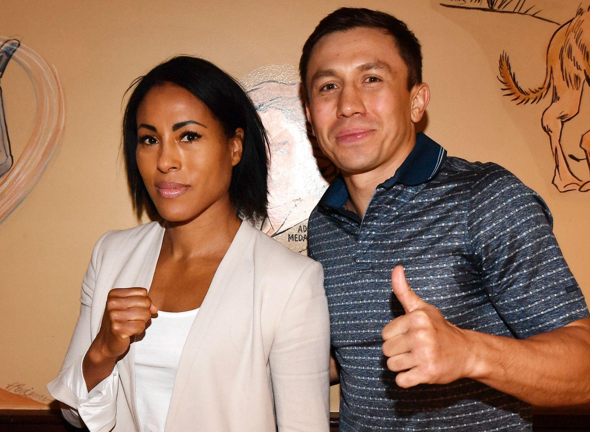 BLIR TILSKUER: Cecilia Brækhus nøyer seg med tilskuerplass når Gennady Golovkin skal gå storkamp i Las Vegas. Her fra en pressekonferanse i Los Angeles i april.