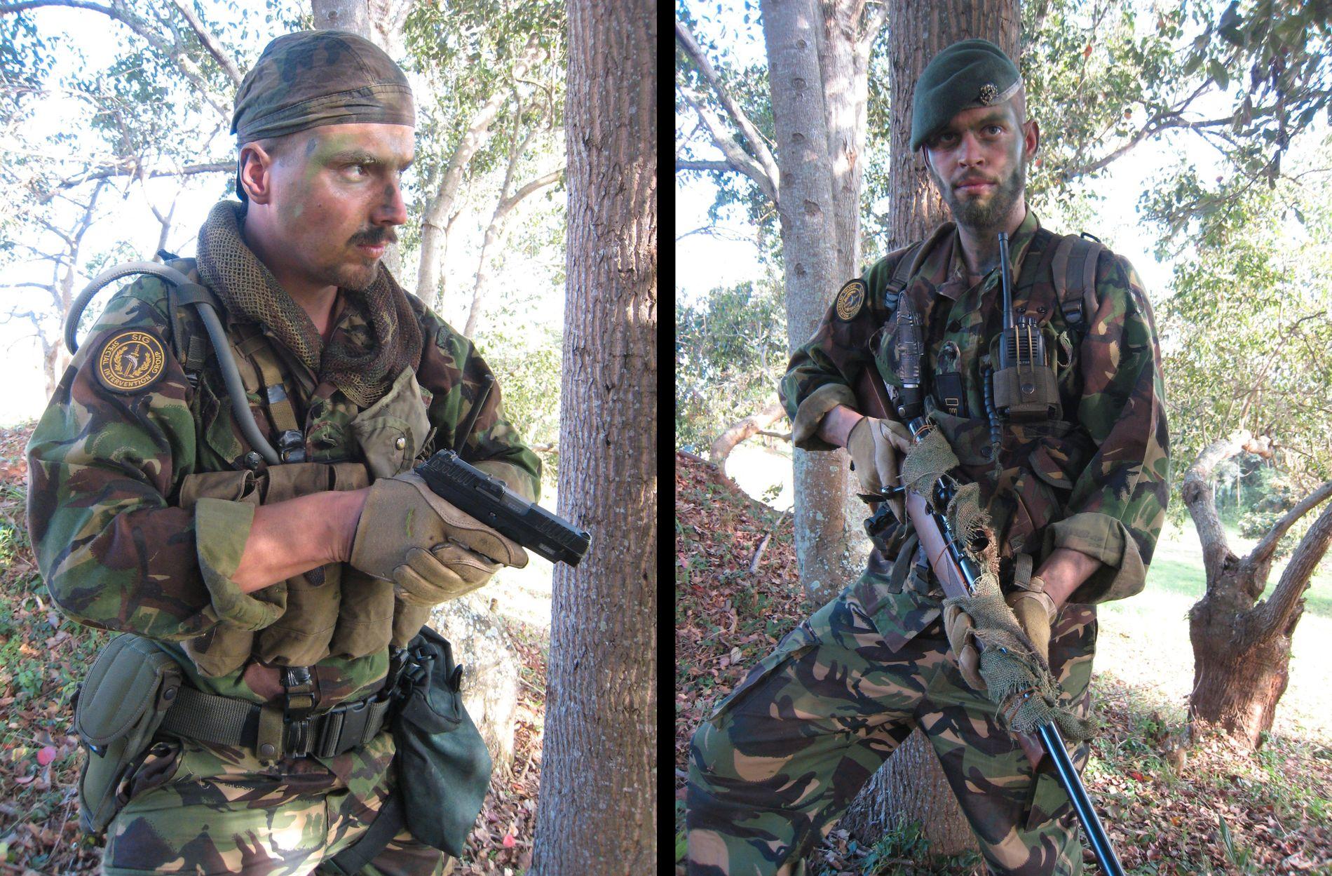 TRENING: Tjostolv Moland og Joshua French på trening for leiesoldatfirmaet SIG Uganda.