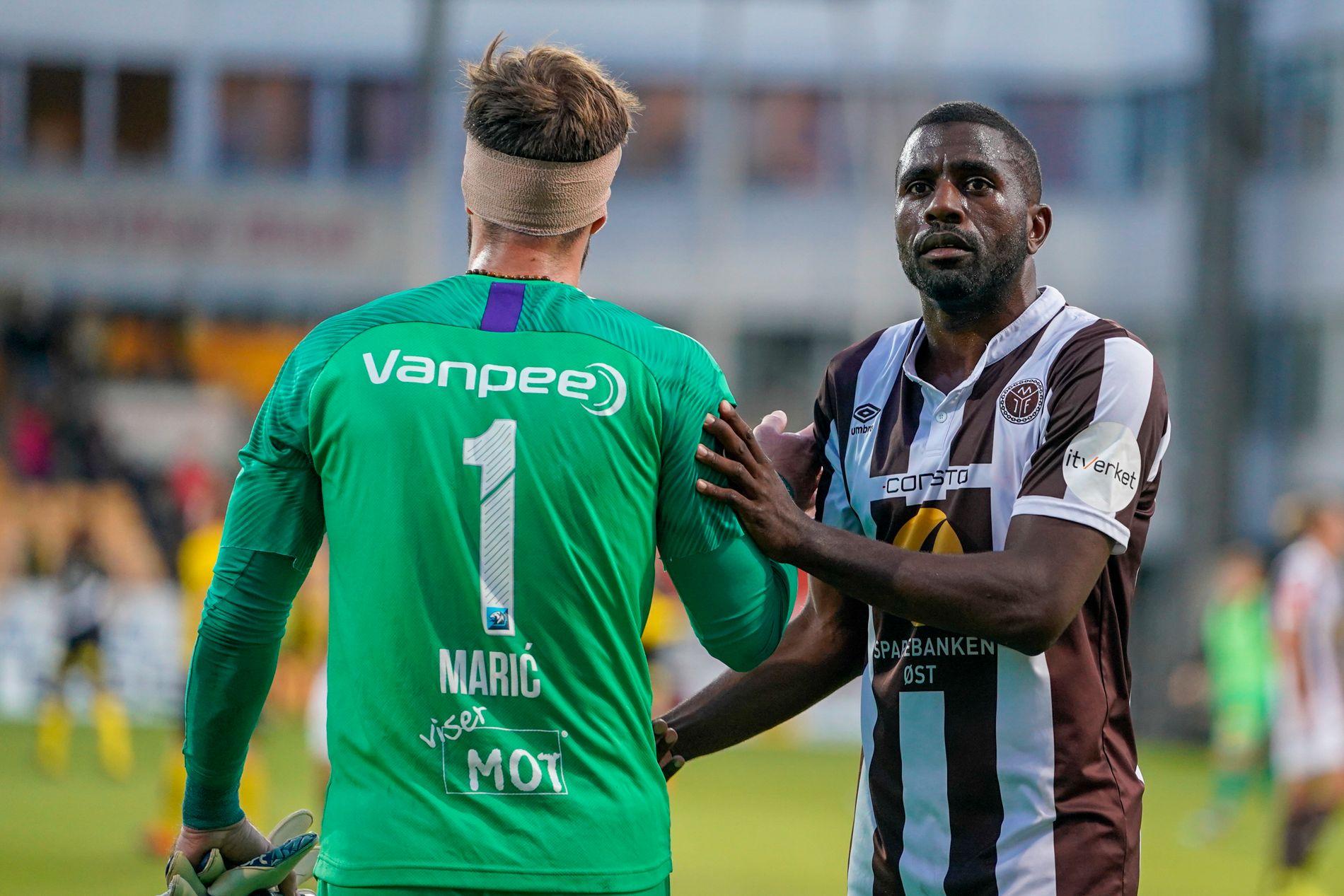 DOBBEL MOT GAMLEKLUBBEN: Olivier Occéan scoret to i møtet med gamleklubben LSK. Her sammen med Lillestrøm-keeper Marko Maric.