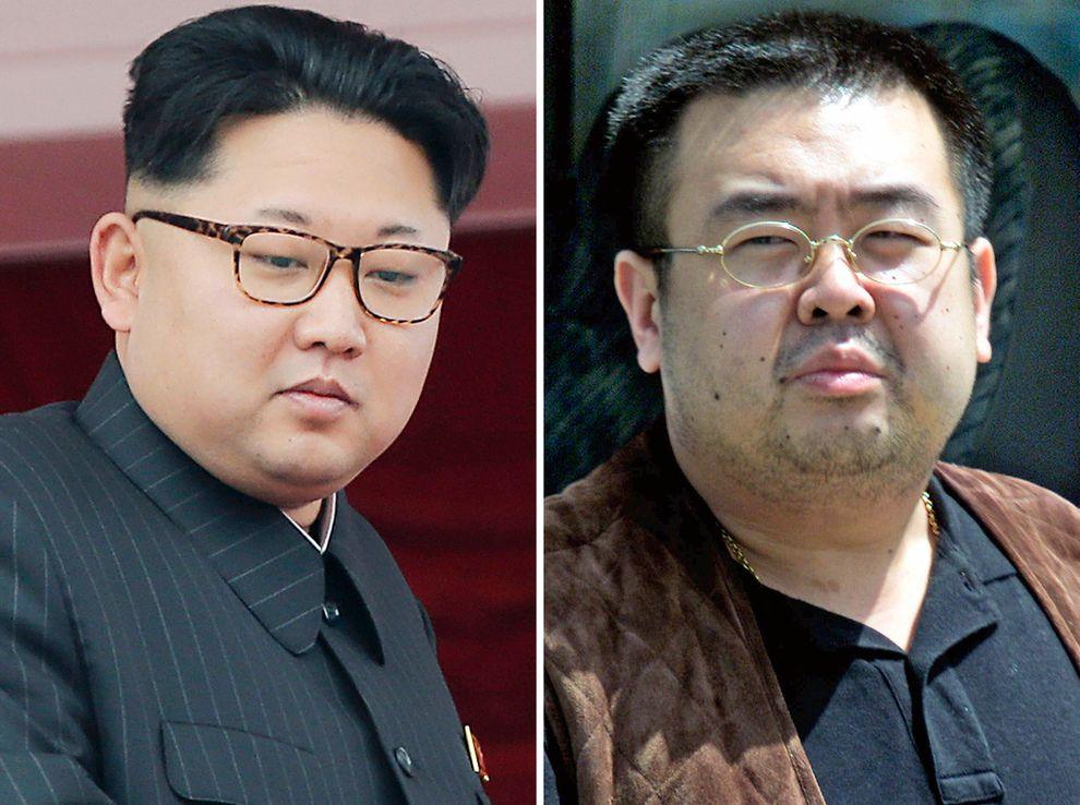 HALVBRØDRE: Kim Jong-nam (til høyre) ble drept på en flyplass i Malaysia 13. februar. Han er den eldre halvbroren til Nord-Koreas leder, Kim Jong-un (til venstre).