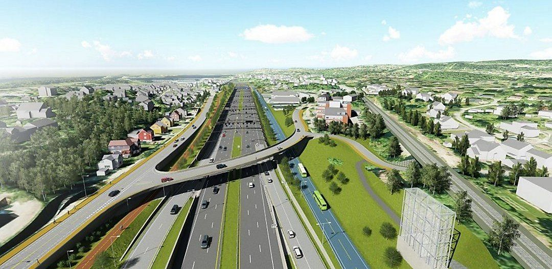 RAMSTADSLETTA: Slik kan den nye motorveien på E18 på Ramstadsletta i Bærum bli - med tre felt i hver retning bluss vekslingsfelt.