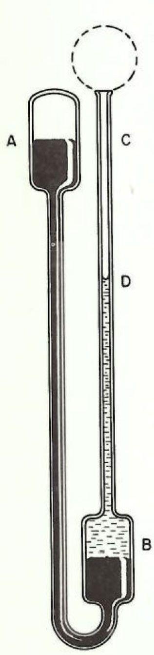 STORT OG ENKELT: Termometerne på 1600-tallet var gjerne en videreutvikling av barometeret. De var svært innretninger av glassrør, gjerne fylt med flere ulike væsker. Ved å lukke den åpne enden, ble dette barometeret gjort om til et stort termometer. Illustrasjonen er fra Middleton WEK. 1966. A History of the Thermometer and its Use in Meteorology
