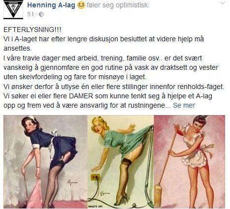 STILLING LEDIG: Slik så innlegget ut på Henning A-lags Facebook-side tirsdag. (skjermdump)