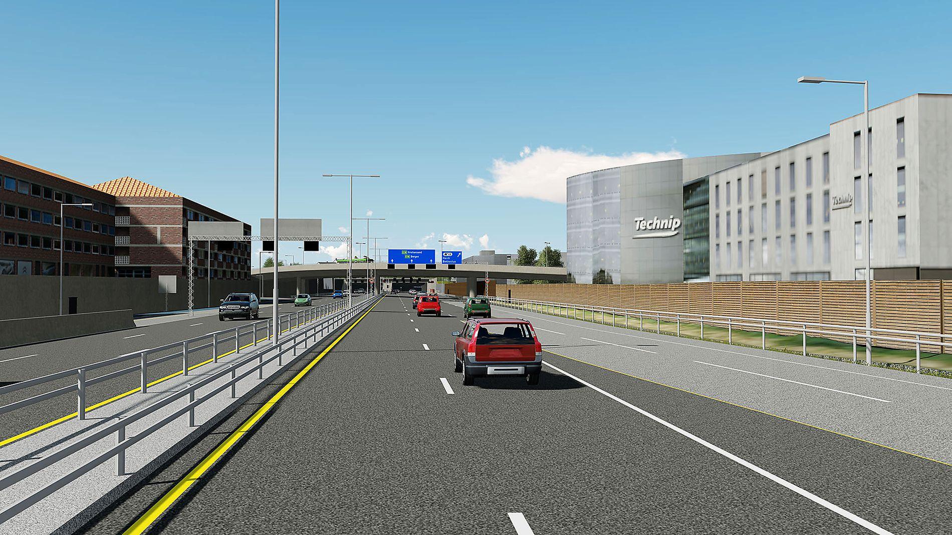 NY E18: Slik er den nye E18 planlagt ved Lysaker på grensen mellom Bærum og Oslo kommune. Illustrasjon: STATENS VEGVESEN