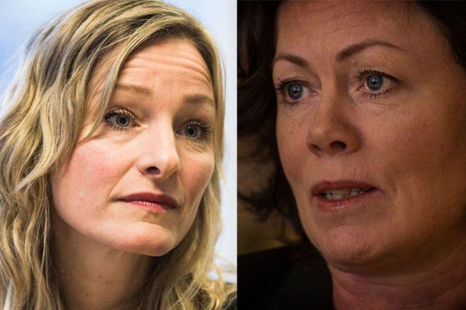 PROVOSERT: Inga Marte Thorkildsen (t.v.) mener regjeringen har nedprioritert partnervold. Det er ikke Solveig Horne (t.h.) enig i.