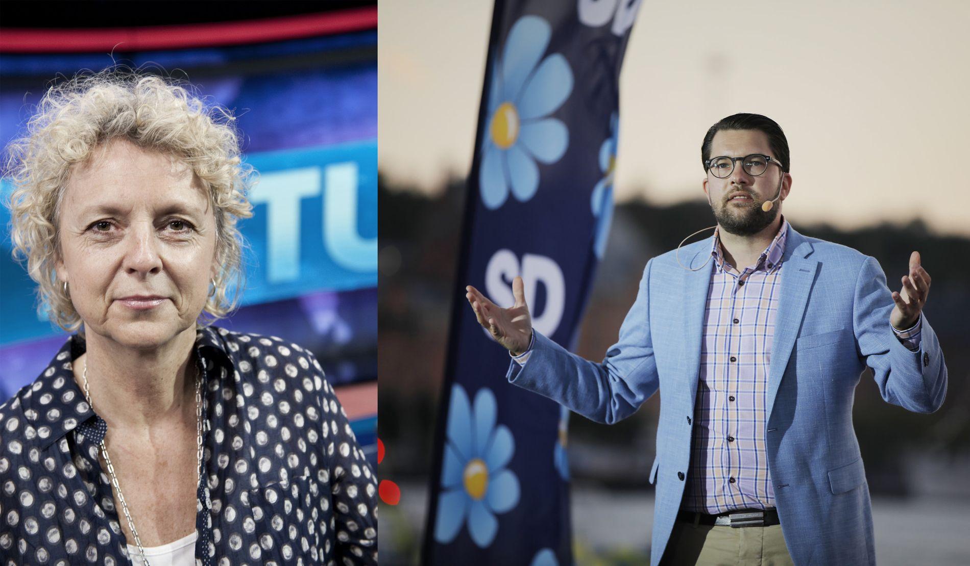 BYTTES UT: Eva Landahl, sjef for SVTs valgsendinger. Til høyre leder for Sverigedemokraterna Jimmie Åkesson.