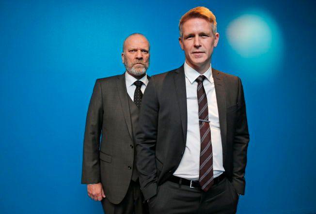 LAVERE ENN VENTET: Seertallene for første episode av sesong to av «Mammon» var lavere enn forventet. Trond Espen Seim og Ingar Helge Gimle (t.v.) spiller henholdsvis stats- og finansminister i tv-serien.