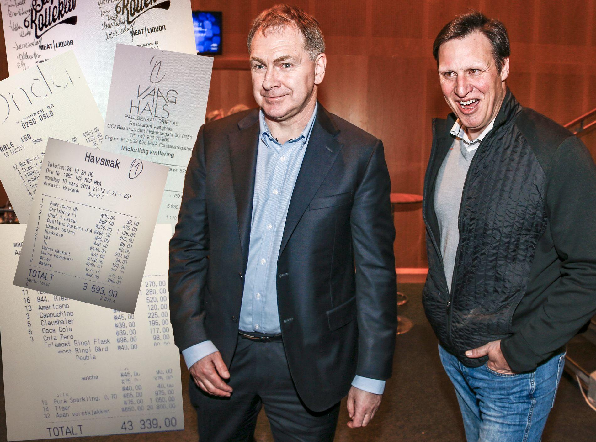 BARREGNINGER: Tidligere generalsekretær Inge Andersen (f.v.) i NIF og idrettspresident Tom Tvedt etter et møte særforbundene i april 2016. Begge har vært på tilstelninger der NIF har brukt offentlige midler på alkohol til egne ledere.