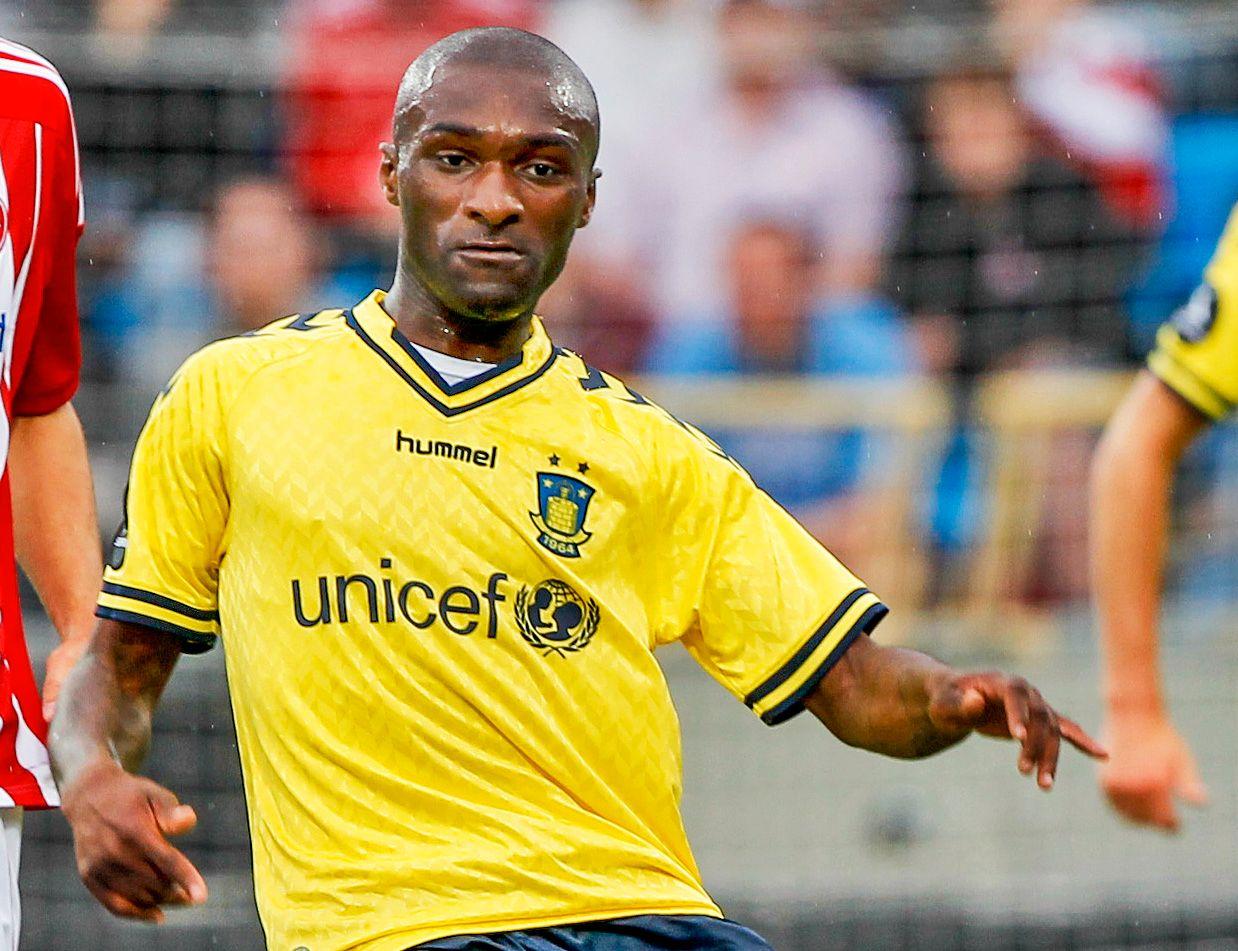 OVERFALT: HamKam-spiller Franck Semou, her som Brøndby-spiller i juli 2012, ble fredag overfalt av to menn etter trening.