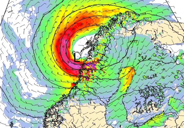 FARLIGE VINDKAST: Den aller kraftigste vinden kommer i Nordland tidlig lørdag – med vindkast på opptil 30 meter i sekundet – altså inntil sterk storms styrke.