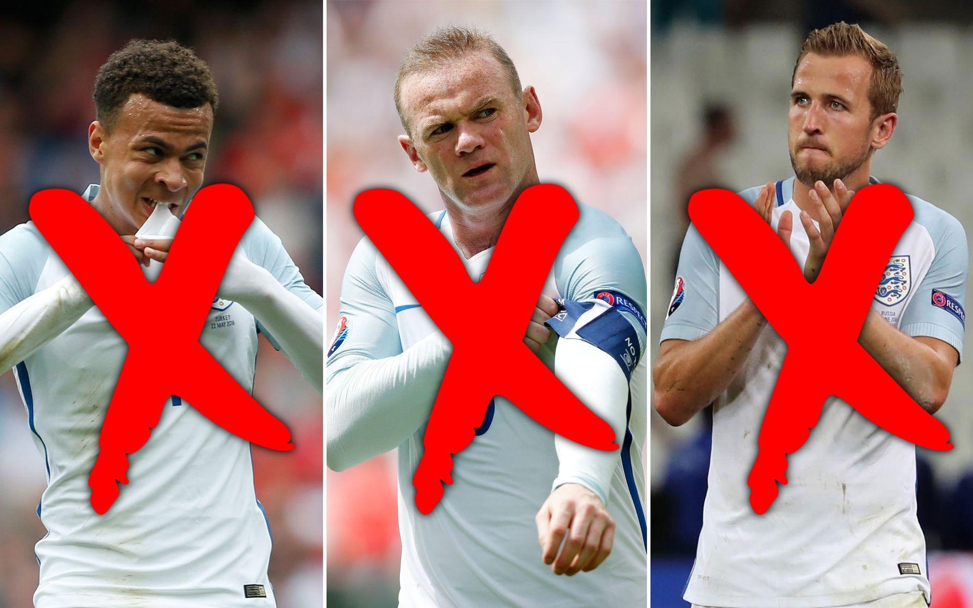 VRAKES: Britiske medier spår at ingen av disse spillerne (fra venstre: Alli, Rooney og Kane) kommer til å starte kampen mot Slovakia mandag kveld.