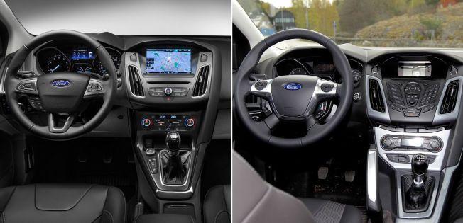 FØR OG ETTER: Bildet til venstre viser den nye Ford Focusens interiør. På bildet til høyre ser du hvordan den utgående 2011-modellen ser ut.