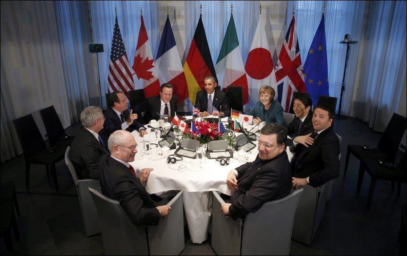 SAMLET: Lederne i G7-landene møttes mandag for å diskutere Ukraina-krisen. Foto: Reuters