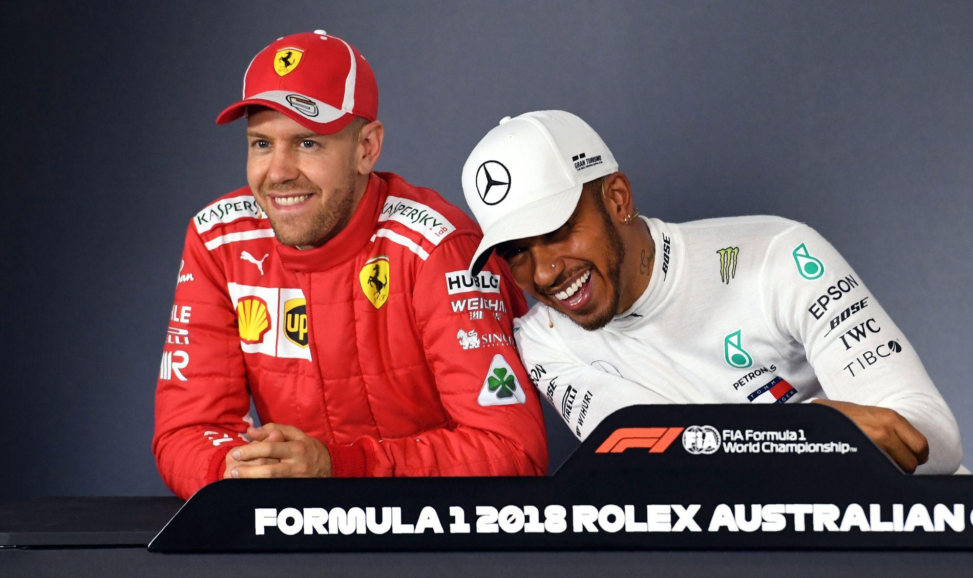 MESTERMØTER: VG tror årets VM i Formel1 vil stå mellom disse to: Sebastian Vettel og Lewis Hamilton. Begge står med fire VM-titler så langt i sine karrierer.