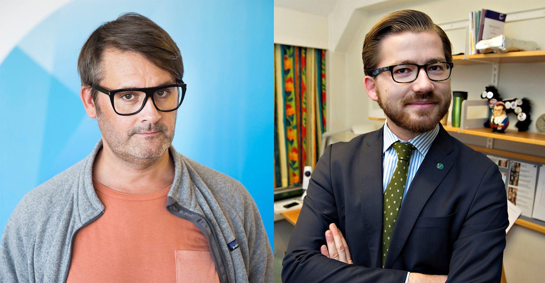 FIKK NEI: Thomas Seltzer (til venstre) fikk avslag på søknaden om å bli norsk statsborger, så lenge han beholdt sitt amerikanske. Det mener Venstres Sveinung Rotevatn er uriktig og gammeldags.