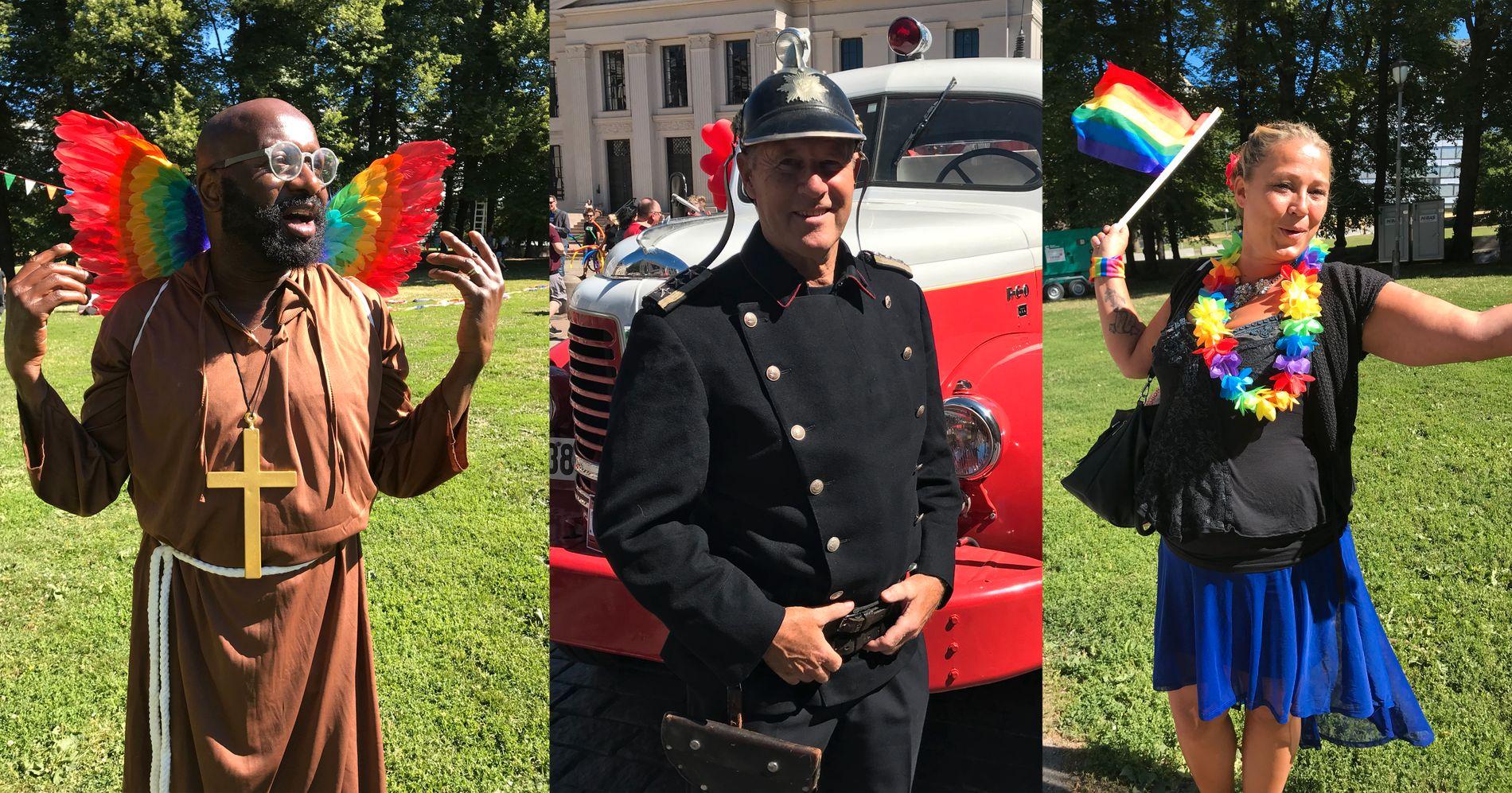 FEIRING: Tusenvis av mennesker samlet seg til Pride-feiring i Oslo i dag. Her er noen av dem.