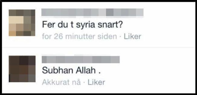 SKJERMDUMP: I desember ble 31-åringen spurt av en venn på Facebook om han skulle dra til Syria. «Ære være Allah», svarer han.