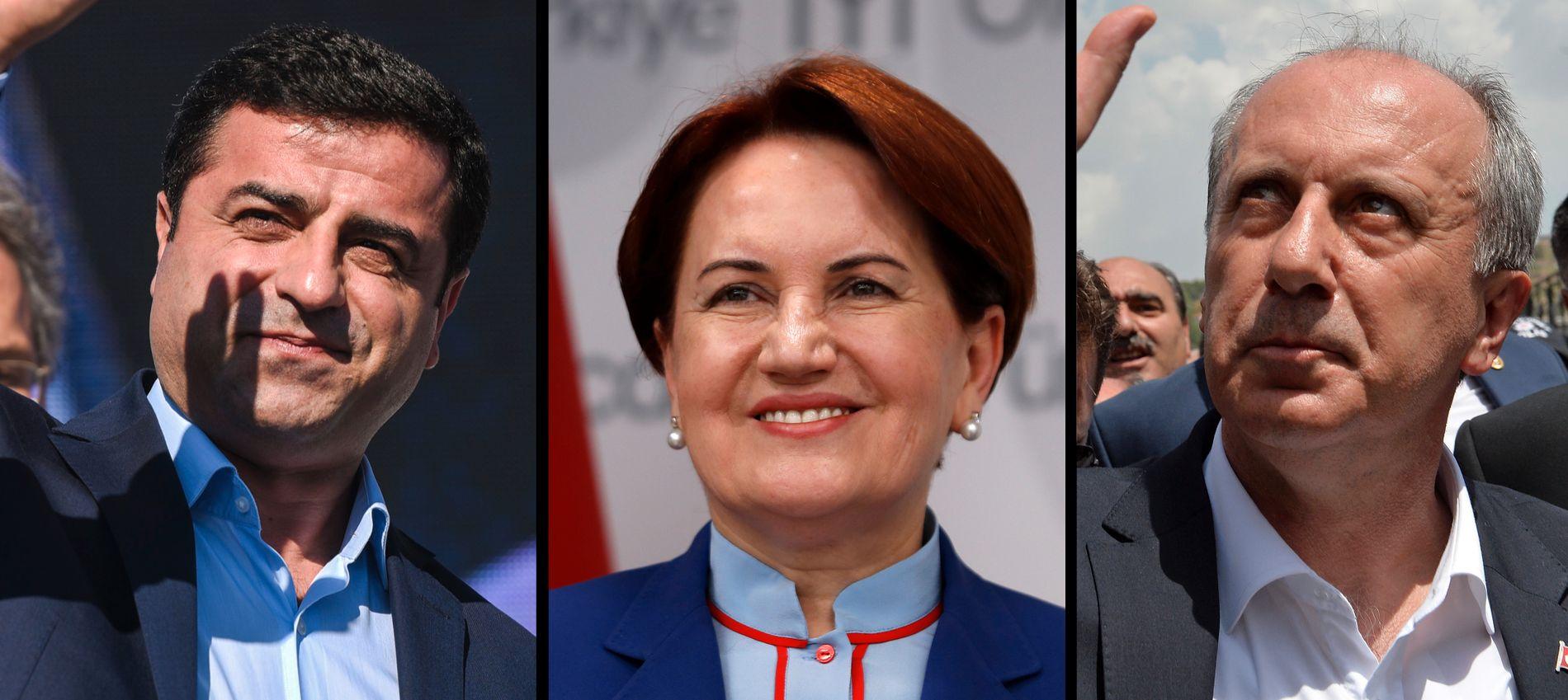 VIL BLI PRESIDENT: President Erdogan er favoritt til å vinne valget, men møter konkurranse fra HDP-leder Selahattin Demirtas (t.v.), Iyi Parti-leder Meral Aksener og CHP-parlamentariker Muhrarrem Ince.