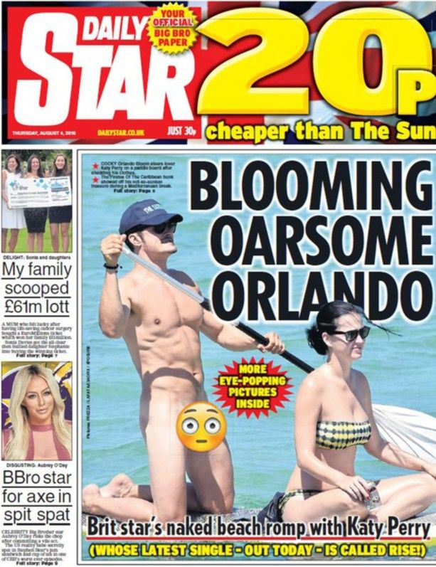 SLADDET: Bare det aller helligste var sladdet av en emoji på bilder av en naken Orlando Bloom på padletur.