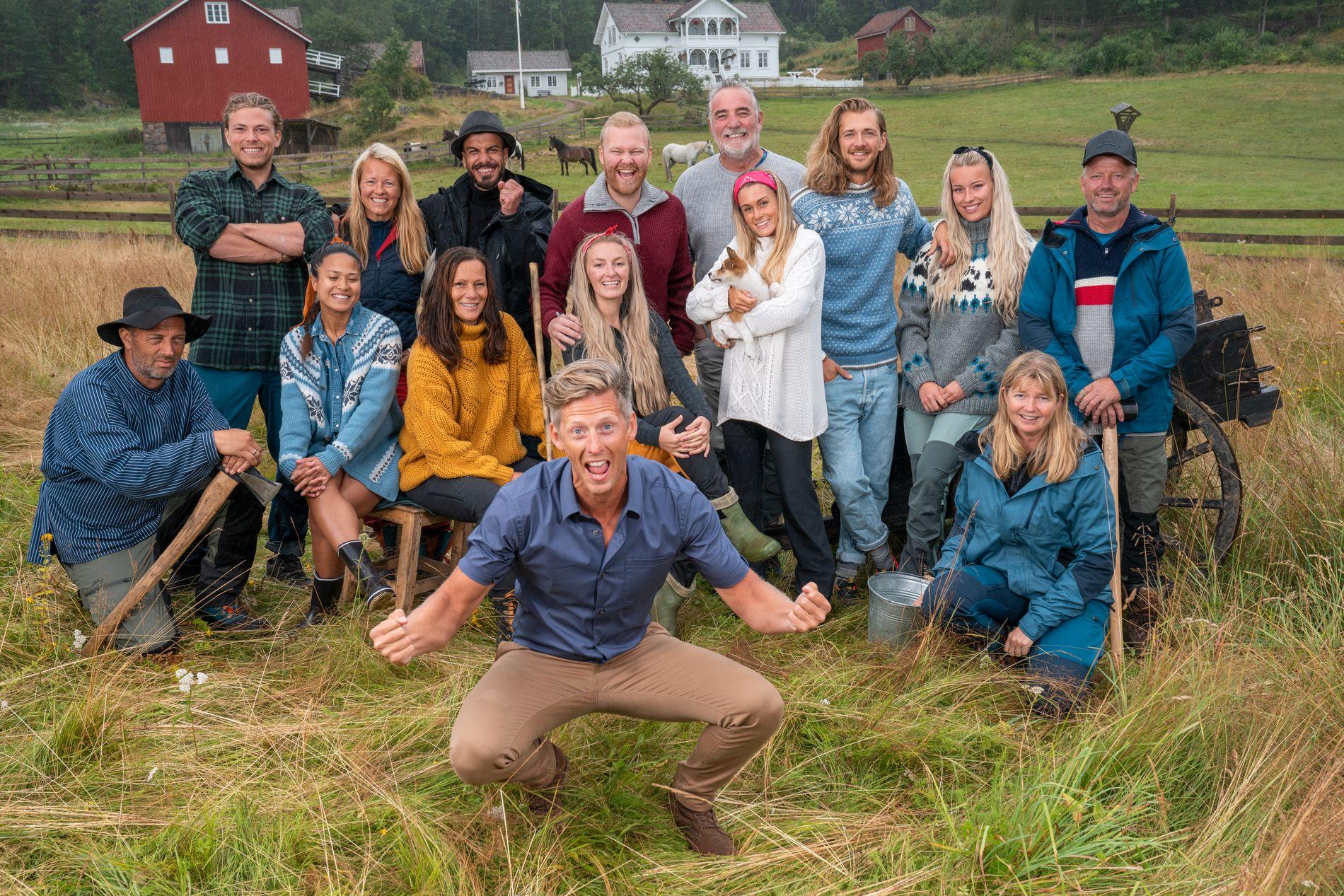 TV-KLARE: «Farmen»-programleder Gaute Grøtta Grav er snart tilbake på TV-skjermen. Med seg har han disse 14 deltagerne.
