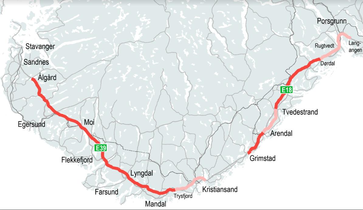 FULL GASS MOT SØR: Om Nye Veier får gjennomslag for sine planer, blir det 120 km/t på strekningene som er markert med rødt. På de øvrige blir det hovedsakelig 110 km/t.